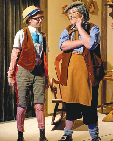 "WOODEN IT BE GRAND—Sammy Costanzo, left, as the puppet and Breezy Johnson as Geppetto in ""Son of Pinocchio Jr."""